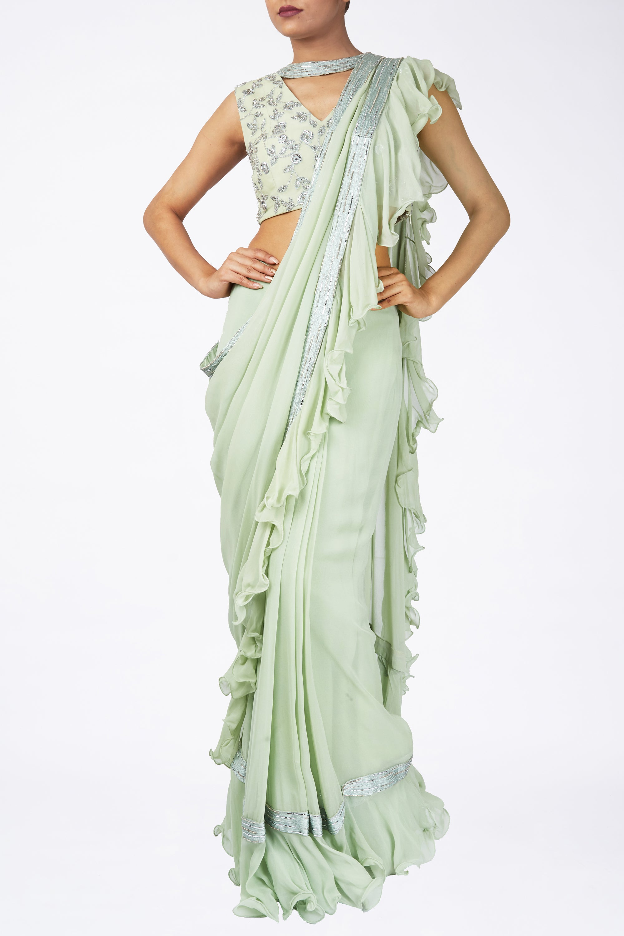 Green Ruffle Saree Front