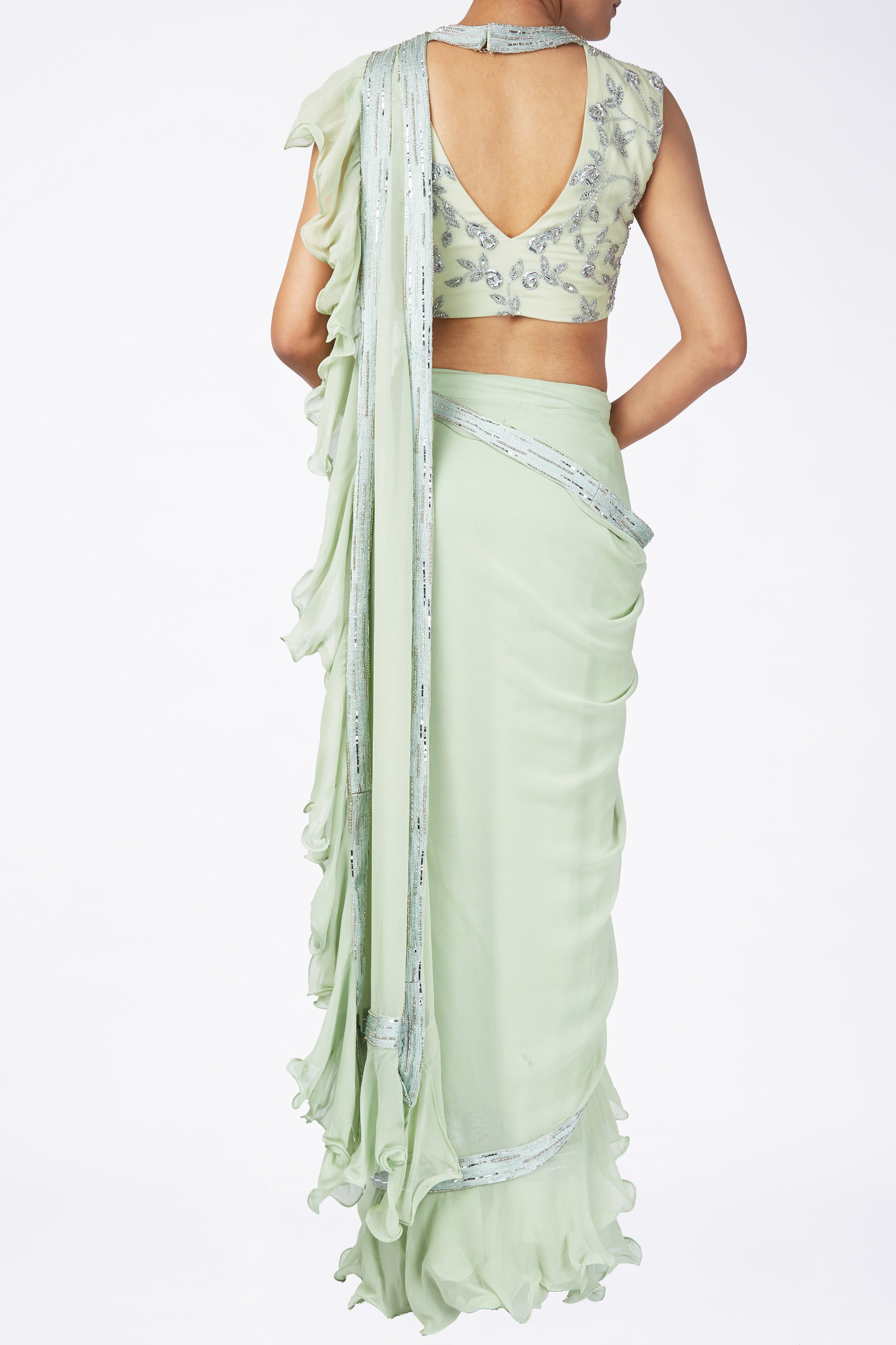 Green Ruffle Saree Back