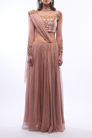 Nude Lehenga With Blouse & Draped Dupatta Front