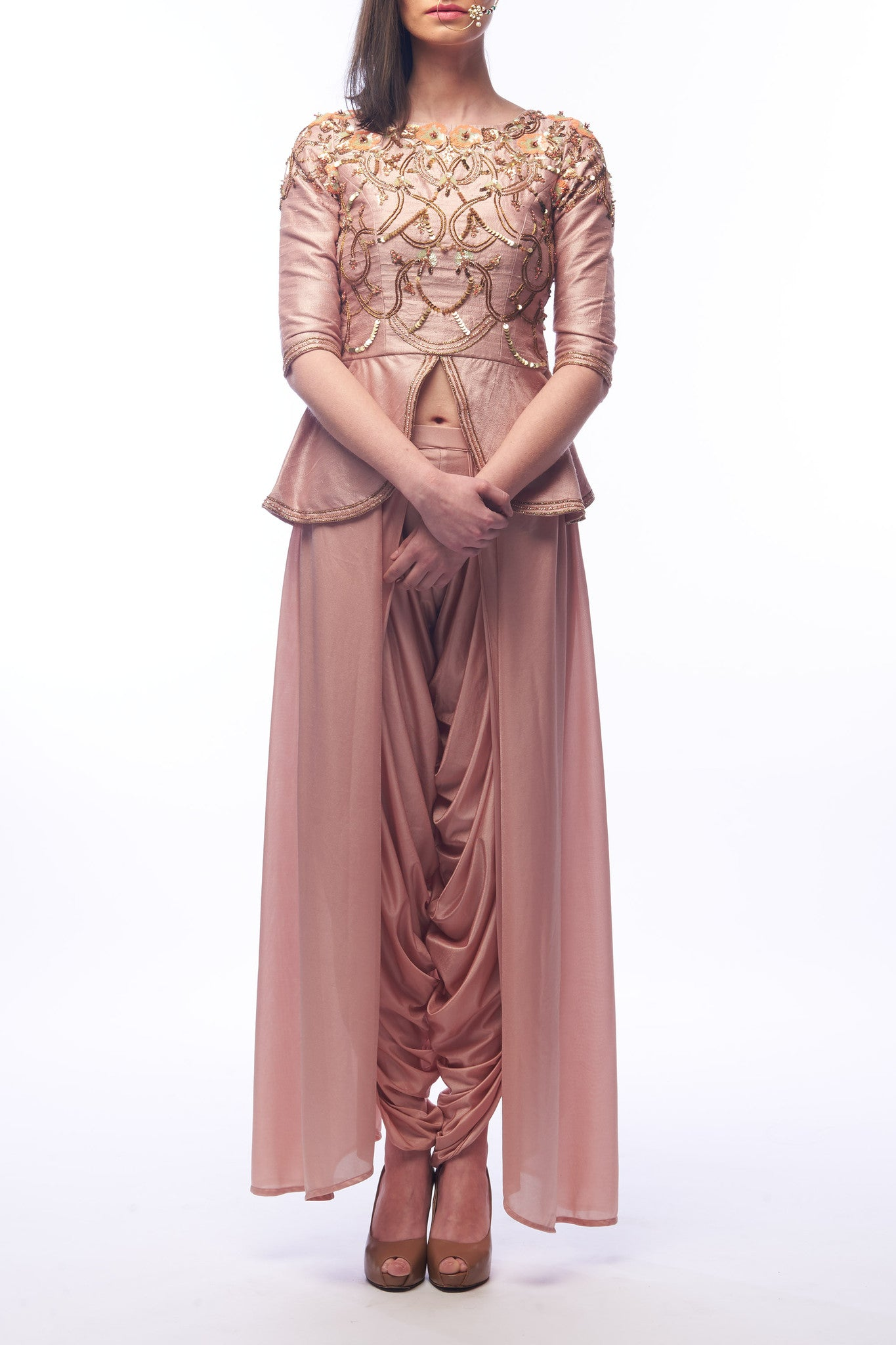 Nude Peplum Top With Ready Draped Dhotis Front