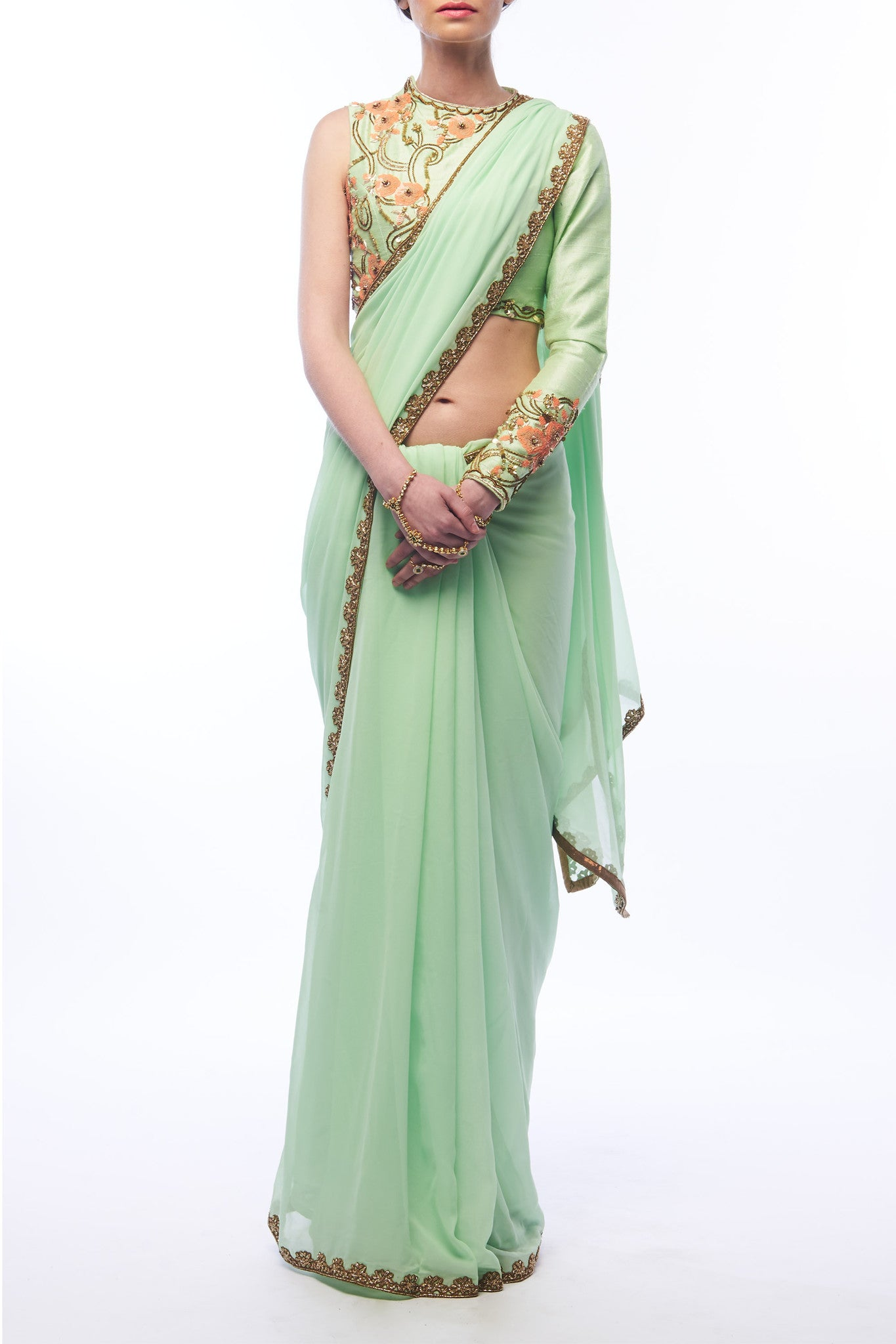 Pistachio Saree and Blouse - Front