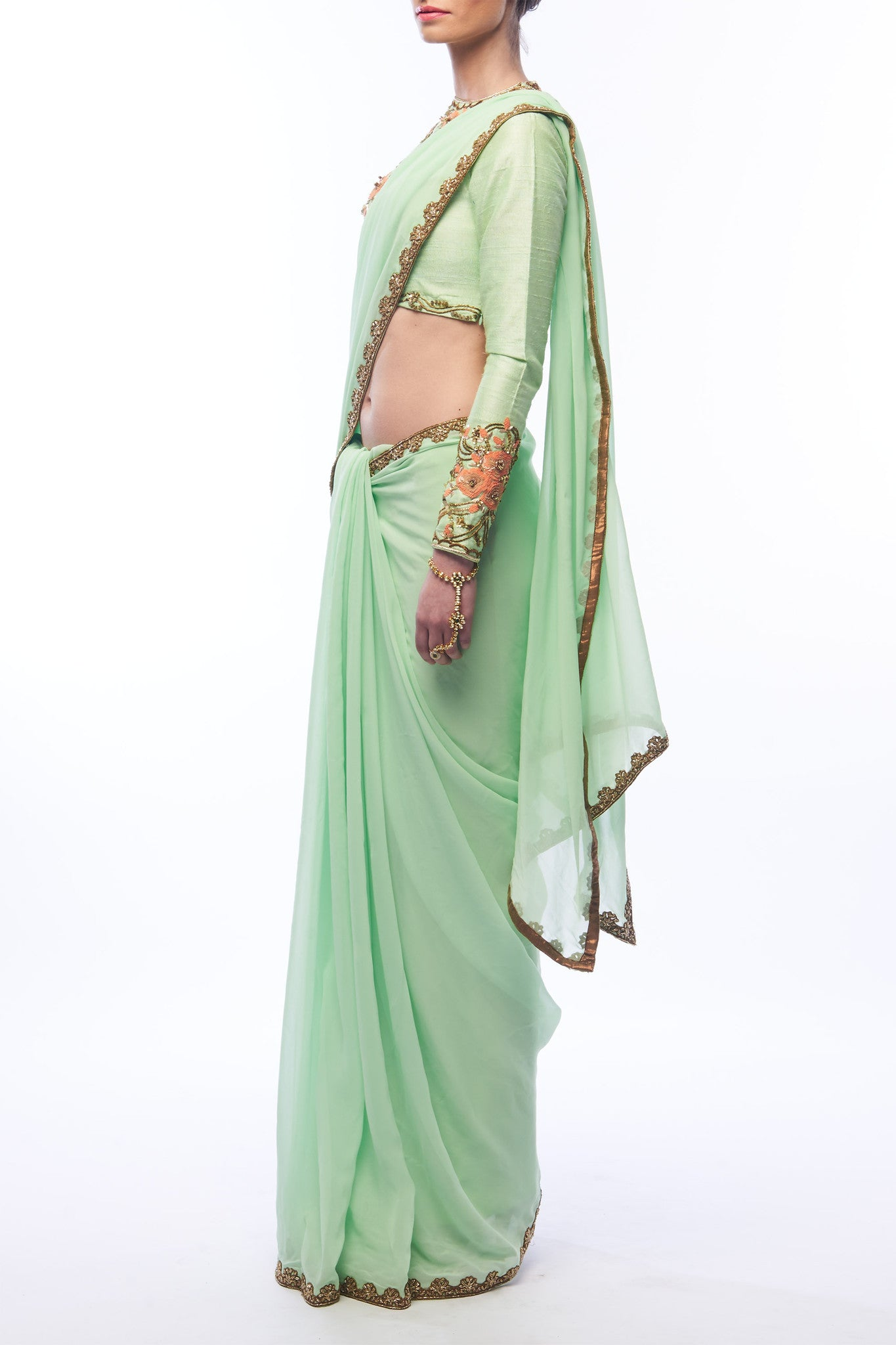 Pistachio Saree and Blouse - One Sleeve