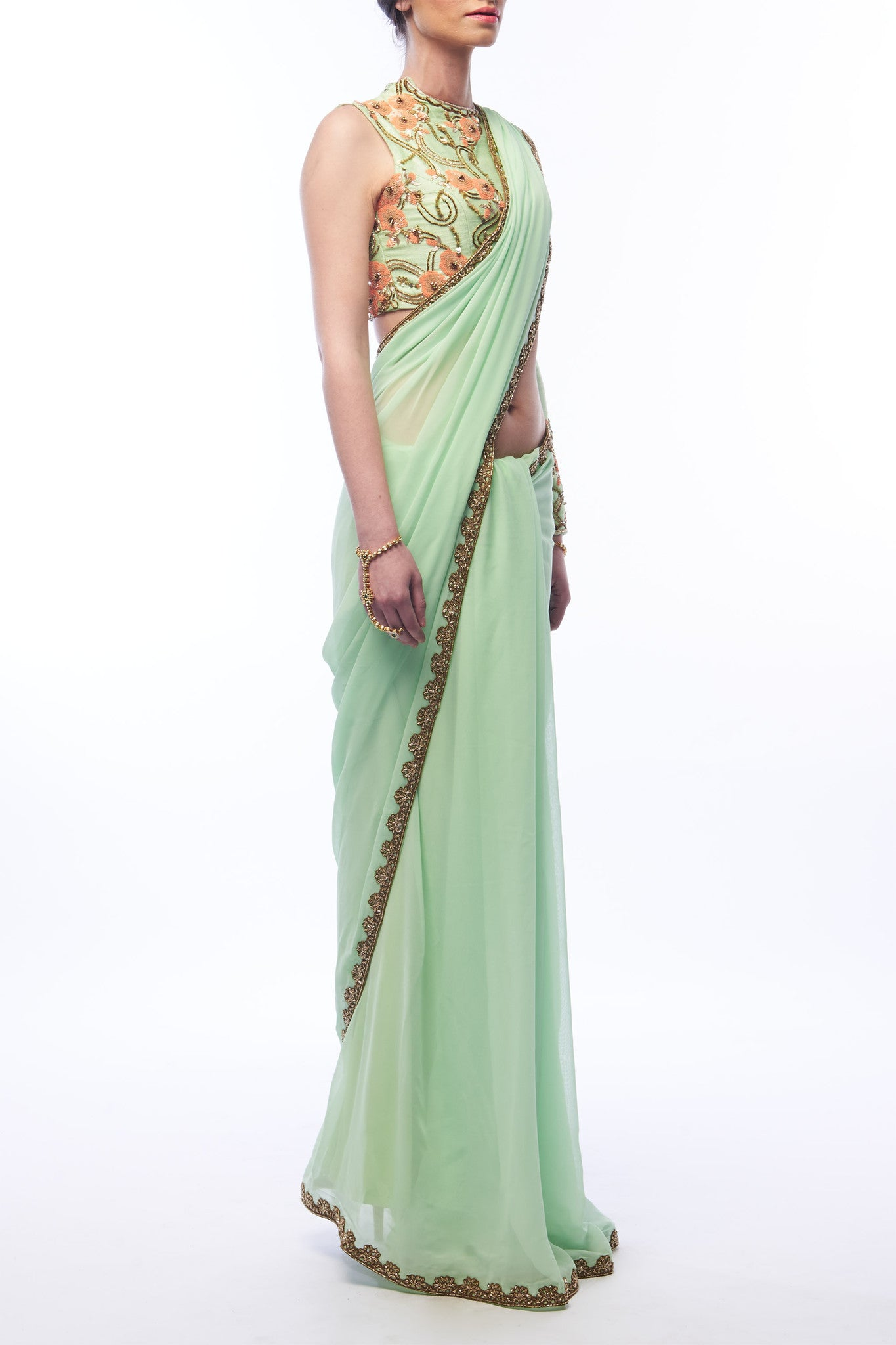 Pistachio Saree and Blouse - Side