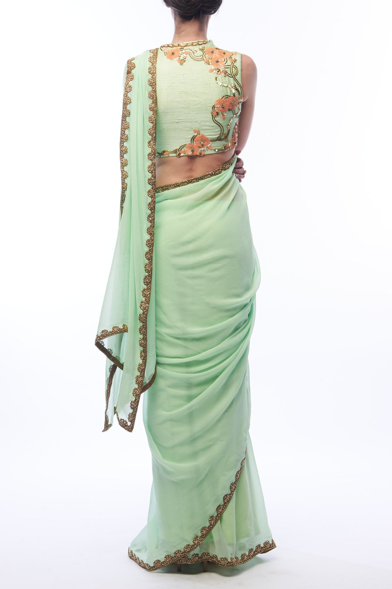 Pistachio Saree and Blouse - Back