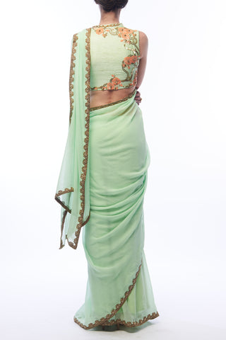 Pistachio Saree & Blouse