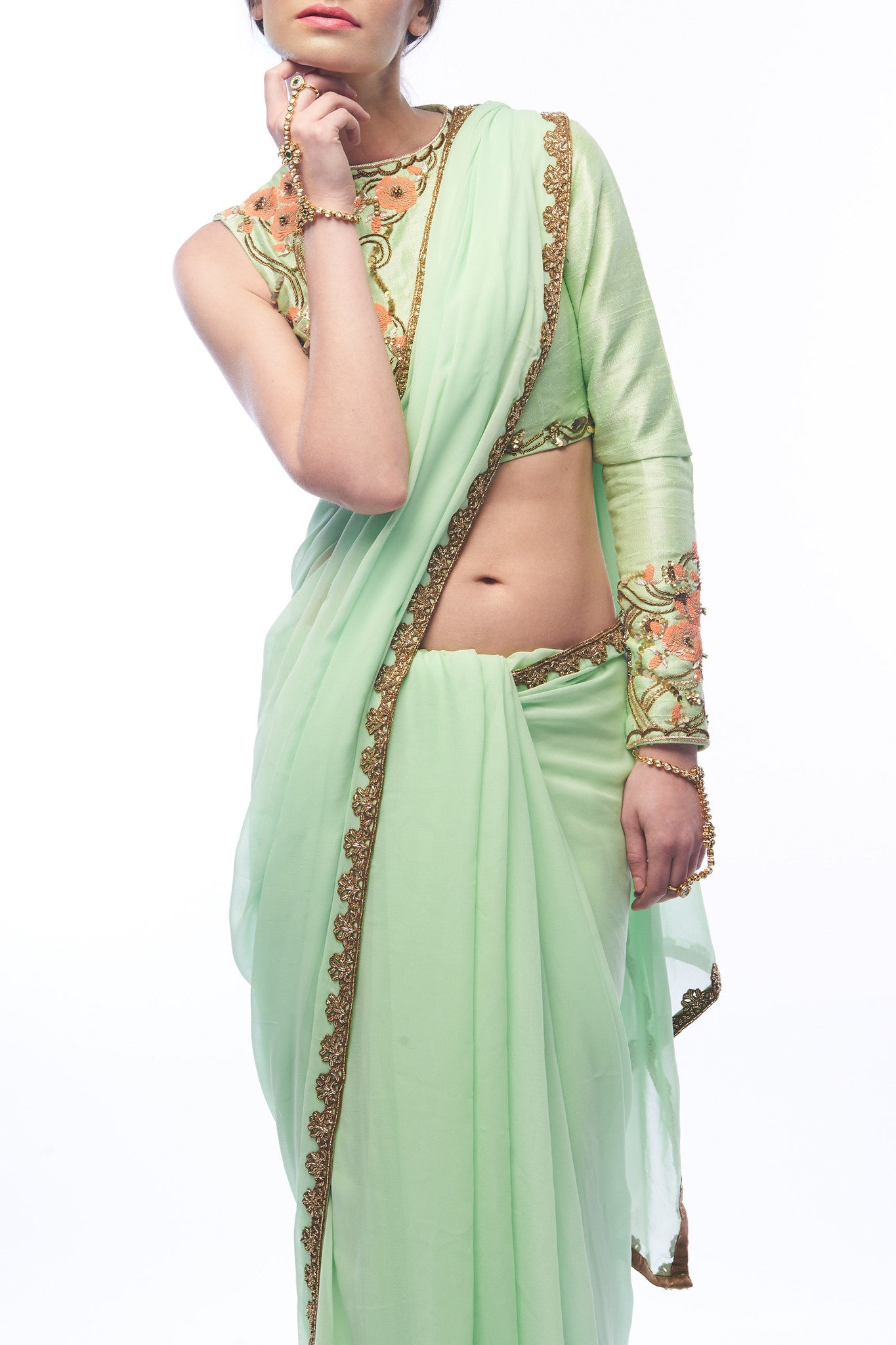 Pistachio Saree and Blouse - CloseUp