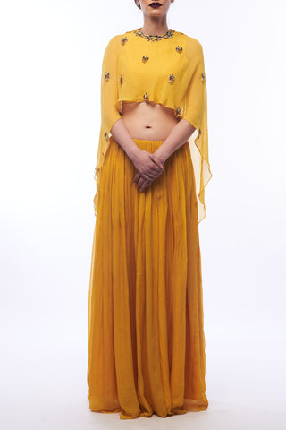 Amber Yellow Lehenga With Cape & Blouse Front