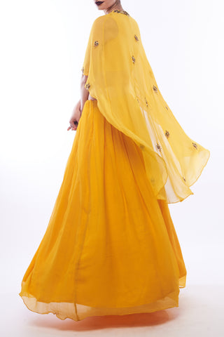 Amber Yellow Lehenga With Cape & Blouse