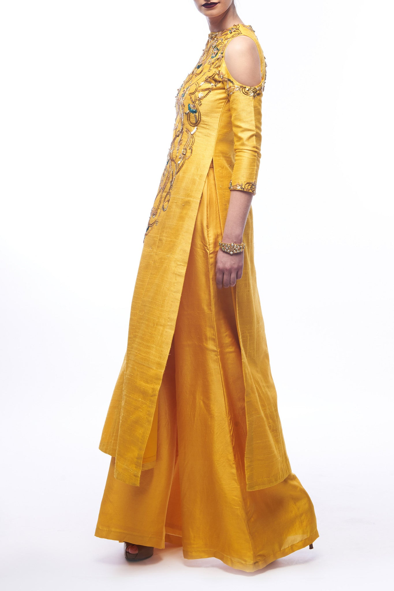 Amber Yellow Kurta & Palazzos CloseUp