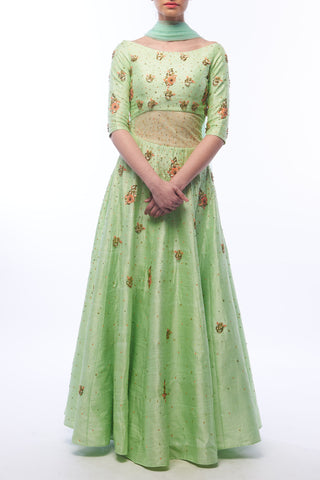 Pistachio Anarkali With Dupatta Front
