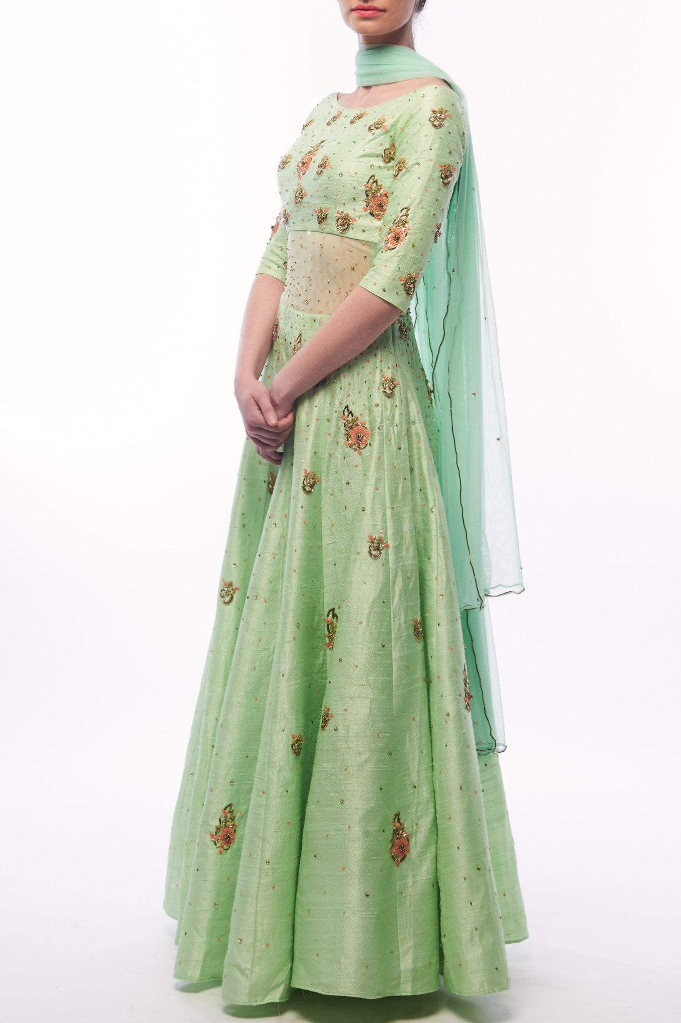 Pistachio Anarkali With Dupatta CloseUp