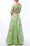 Pistachio Anarkali With Dupatta Back