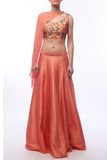Coral Lehenga With Blouse & Cape Front