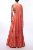 Coral Lehenga With Blouse & Cape Back