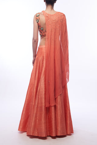 Coral Lehenga With Cape