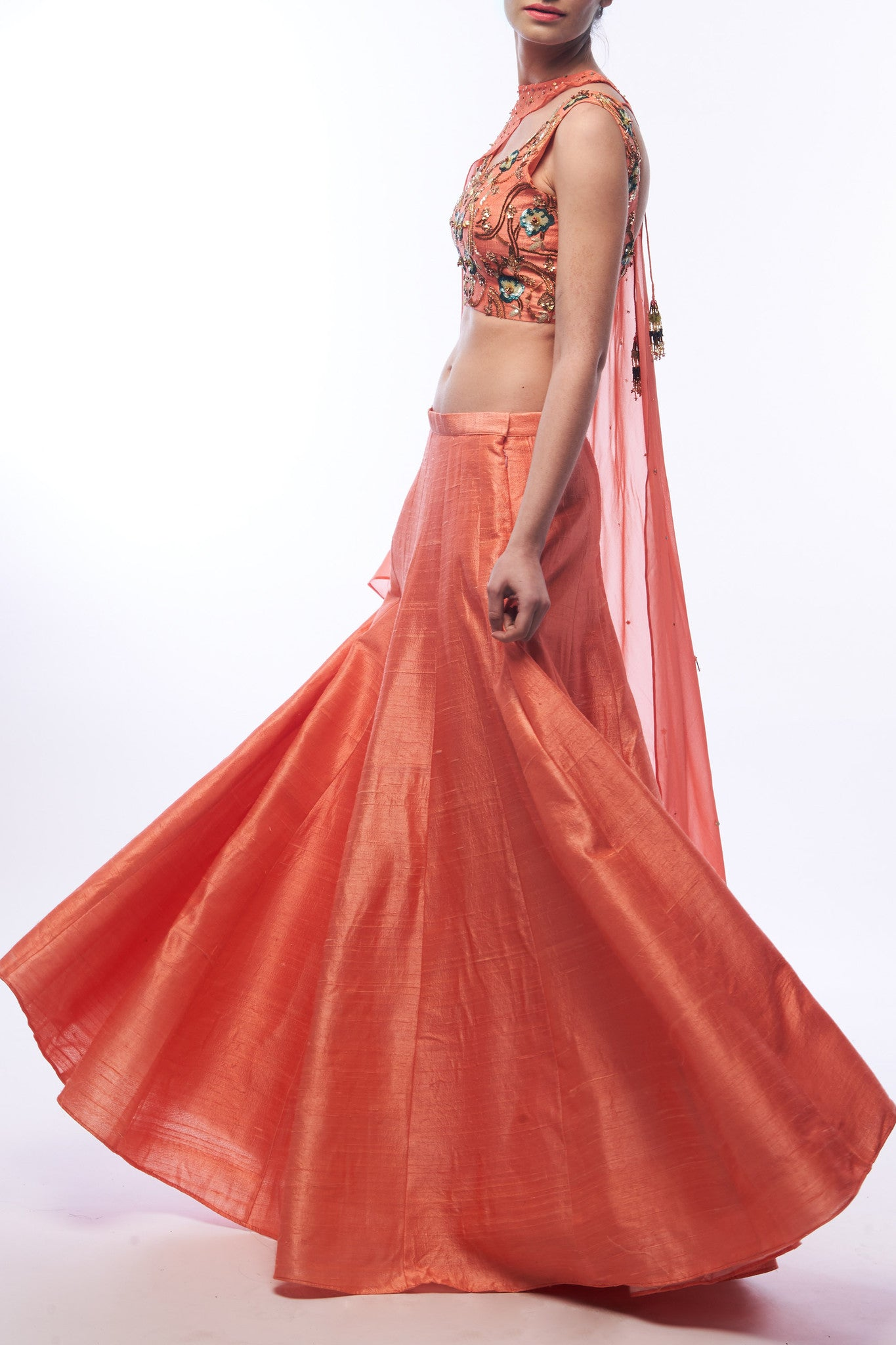 Coral Lehenga With Blouse & Cape Side