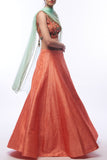 Coral Lehenga With Blouse & Cape CloseUp