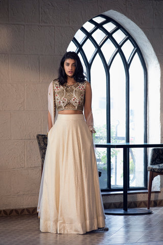Ivory Lehenga With Cutwork Embroidery