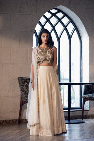 Ivory Lehenga With Cutwork Embroidery full