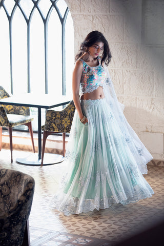 Ice Blue Lace Net High Low Skirt With Multi-Colour Blouse