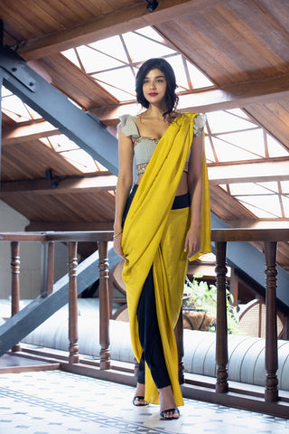 Black & Yellow Dhoti Sari