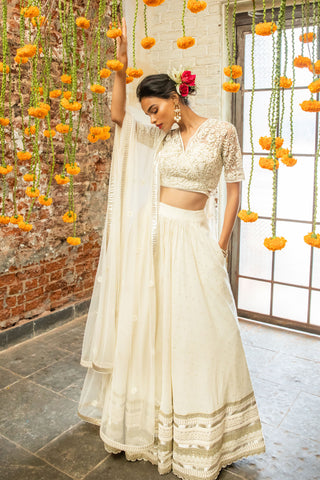 Ivory & Floral Motifs Lehenga FRONT