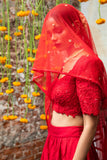 Red Raw Silk Lehenga CLOSEUP
