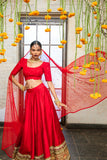 Red Raw Silk Lehenga SIDE