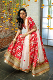 Red Raw Silk Floral Lehenga FRONT
