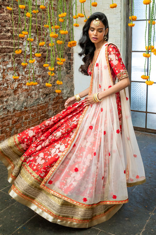 Red Raw Silk Floral Lehenga