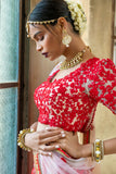 Soft Pink & Red  Floral Lehenga CLOSE