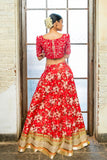 Soft Pink & Red  Floral Lehenga BACK