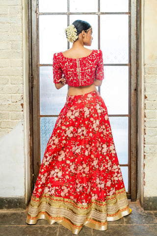 Soft Pink & Red  Floral Lehenga