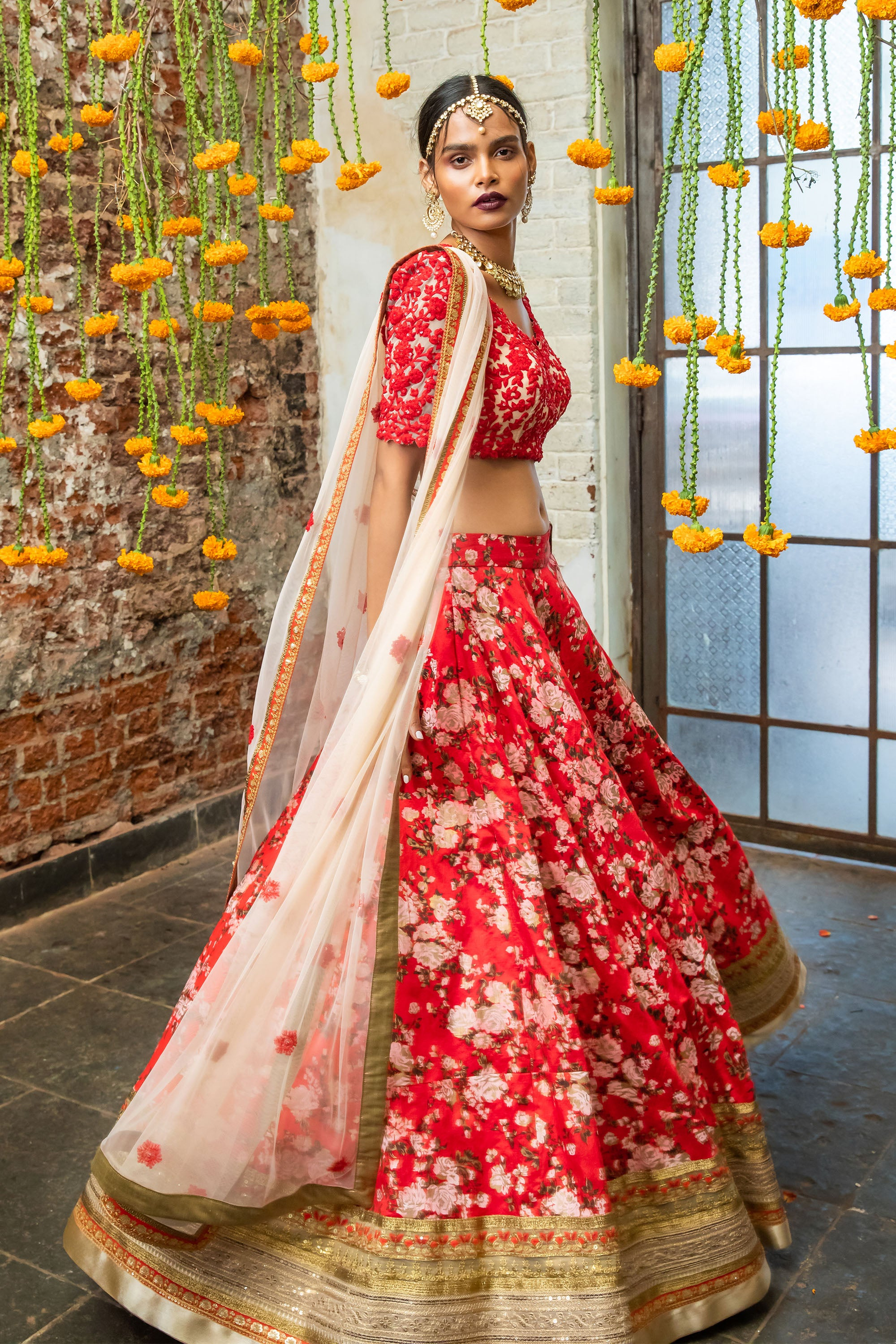 Soft Pink & Red  Floral Lehenga SIDE