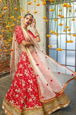Soft Pink & Red  Floral Lehenga FRONT