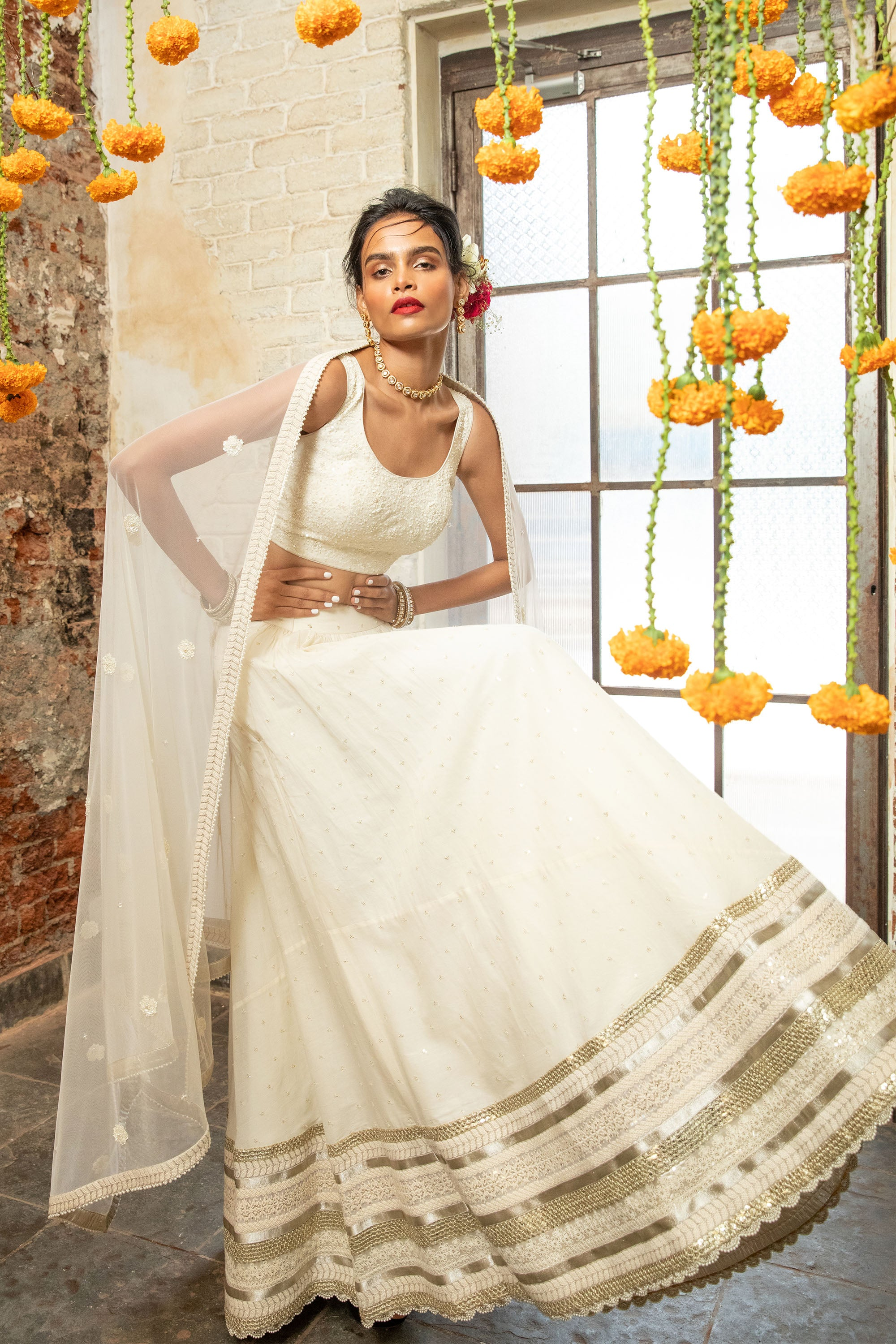Ivory Embroidered Lehenga SIDE