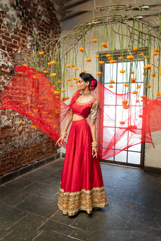 Red Raw Silk Lehenga With Cutwork