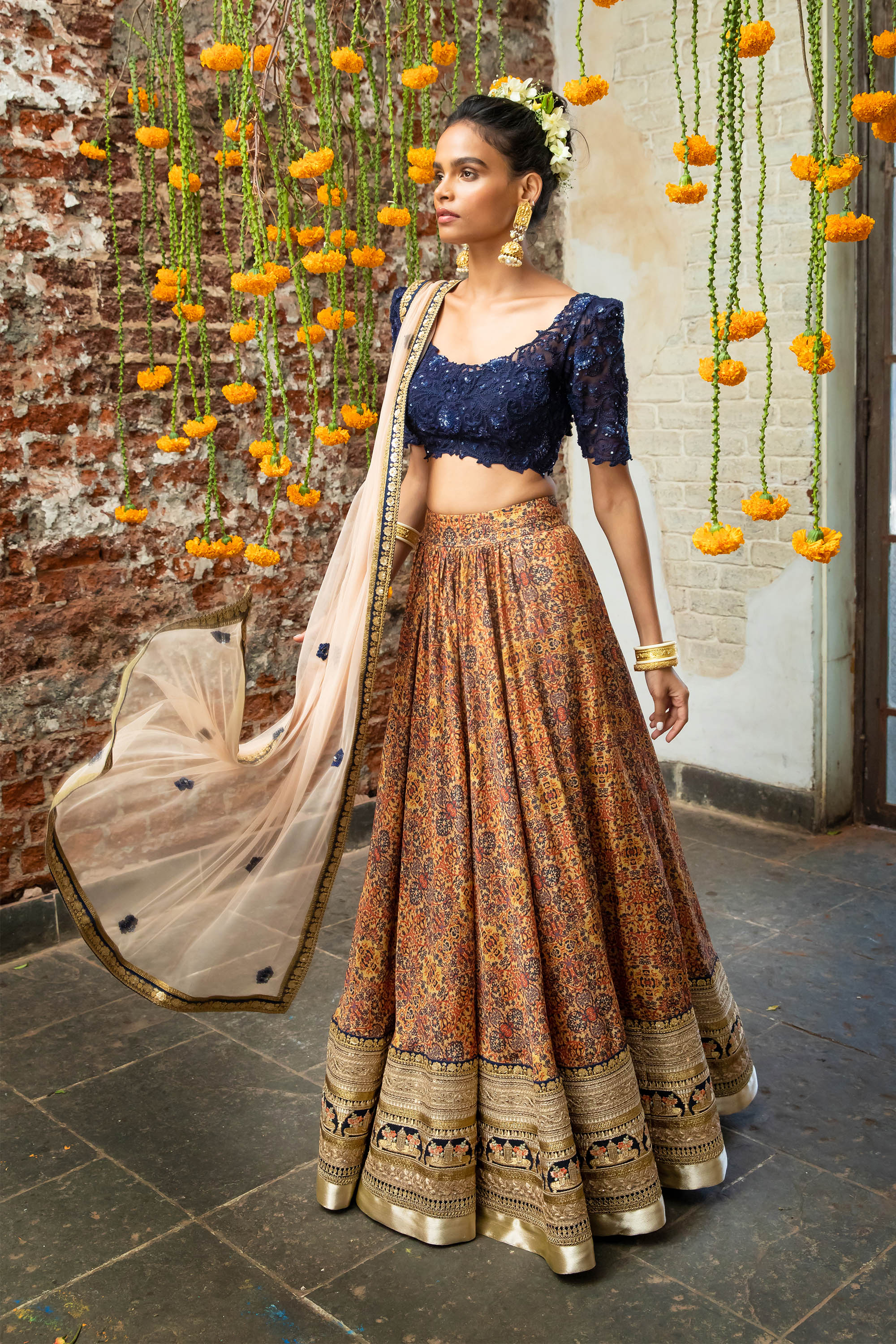 Navy Blue & Floral Lehenga FRONT