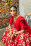 Red Raw Silk Lehenga Floral Motifs CLOSEUP