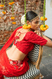Red Raw Silk Lehenga Floral Motifs BACK