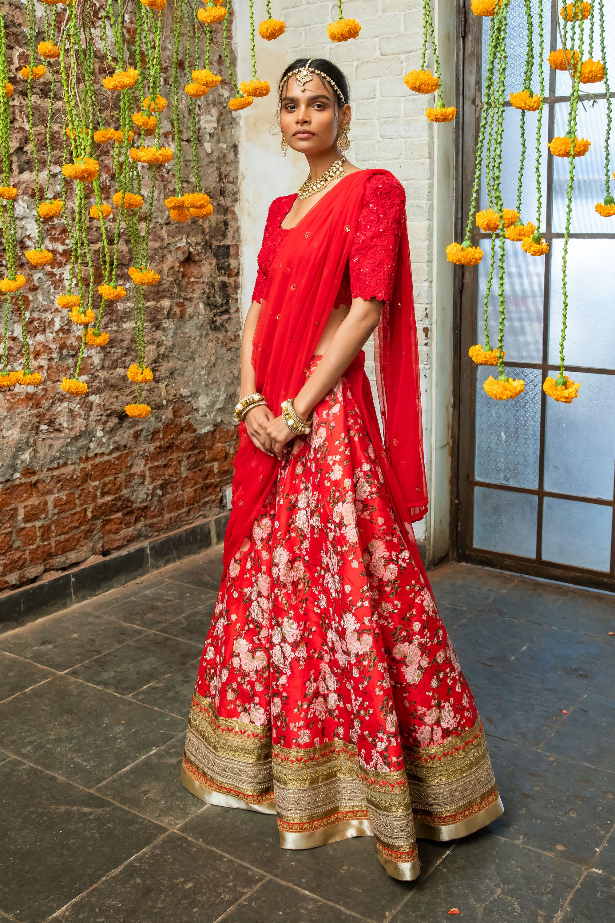 Red Raw Silk Lehenga Floral Motifs FRONT