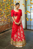 Red Raw Silk Lehenga Floral Motifs SIDE