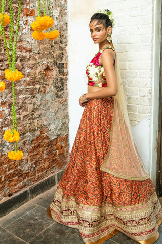Red Tribal Print & Cream Lehenga FRONT