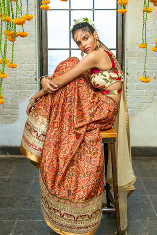 Red Tribal Print & Cream Lehenga