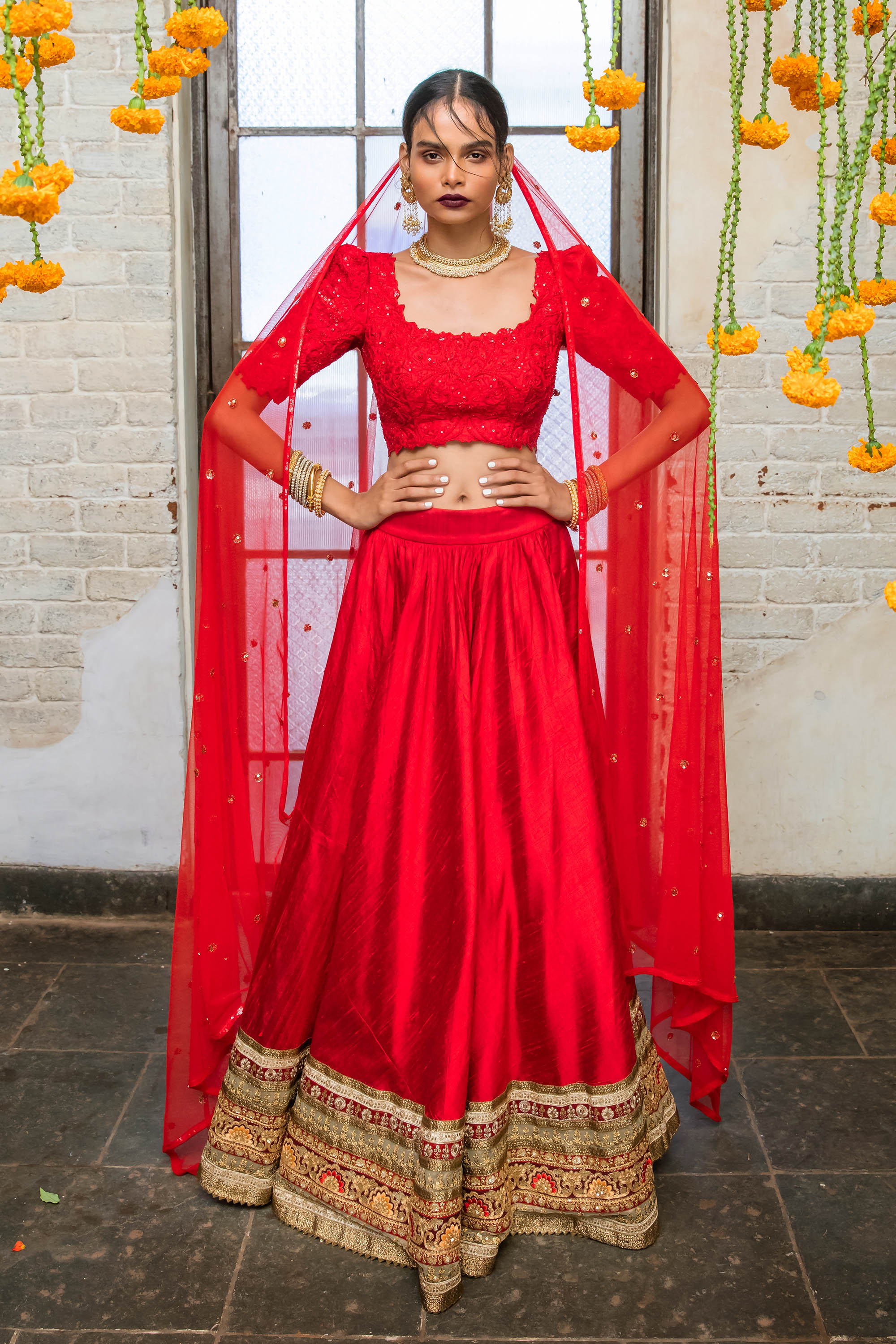 Red Raw Silk Lehenga FRONT