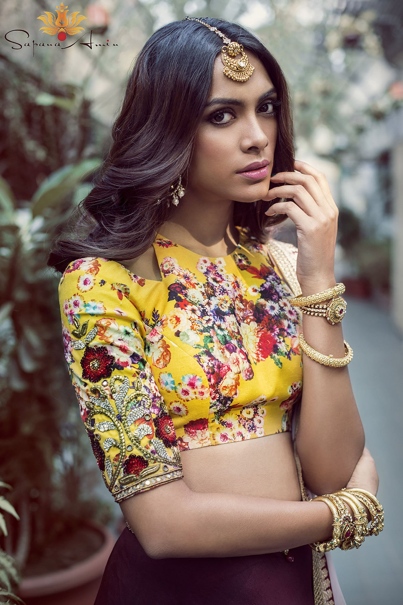 Burgundy and Silk Floral Lehenga Close Up
