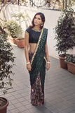 Black and Green Silk Saree Front