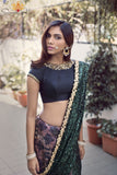 Black and Green Silk Saree Back