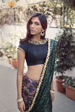 Black & Green Silk Saree