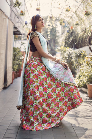 One Shoulder Silk Floral Lehenga Front